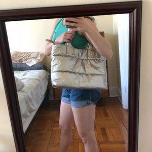 Handbags - Vintage silver puffy y2k space bag